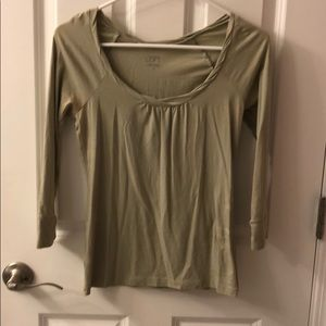 Loft light olive green scoop neck knit top